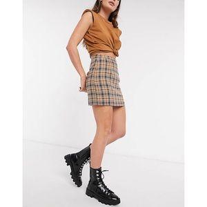 ASOS Heartbreak Tailored Mini Skirt Mustard Navy